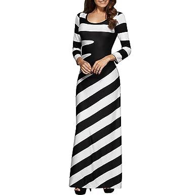 e2bb8f2871c Amlaiworld Women Dresses,Fashion Women O Neck Casual Striped Printed  Evening Party Dress Long Dress: Amazon.co.uk: Clothing