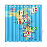 InterestPrint Home Decor North and South America Map with flags and Countries Name Polyester Fabric Shower Curtain Bathroom Sets with Hooks 72 X 72 Inches