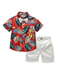 Baby Boy Shirt and Tie Sets Short Sleeve Button-Down Shirt Top+ Bowknot+ Shorts Gentleman Casual Outfits Sets