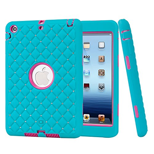 top Unique Studded Rhinestone Crystal Bling Design Soft iPad Mini 3 In1 Hybrid Shockproof Protective Sparkling Diamond Armor Cover Case for iPad Mini 1/2/3 (Blue + Rose Red) ()