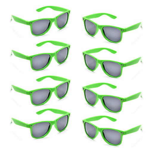 Neon Colors Party Favor Supplies Unisex Sunglasses Pack of 8 - Green Sunglasses