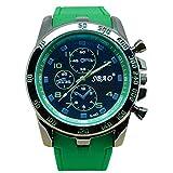 Quaanti Mens Outdoor Sport Watch Stainless Steel Luxury Sport Analog Quartz Modern Men Fashion Wrist Watch Brand Watches (Green)