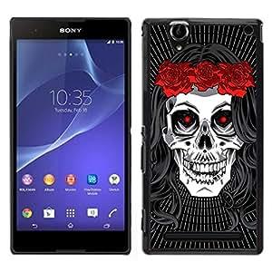 Be-Star Único Patrón Plástico Duro Fundas Cover Cubre Hard Case Cover Para Sony Xperia T2 Ultra ( Hippie Skull Peace Red Rose Devil )