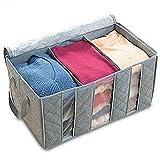 Leshery 65L 60*35*30cm Foldable Storage Bag Clothes Blanket Closet Sweater Organizer Box Charcoal