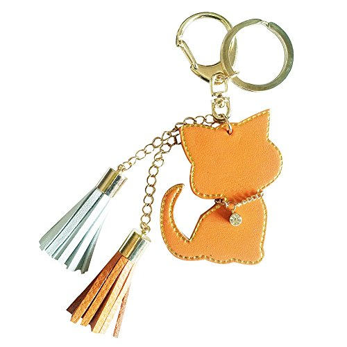 Orange Cat Charm - Cat Design Leather Charm with two tassels and gemstone necklace (orange)