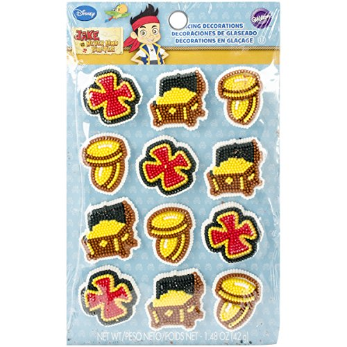 Wilton 710-2033 Disney Jake and The Never Land Pirates Icing Decorations (Treasure Chest Birthday Cake)