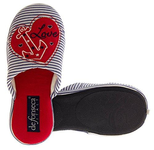 Para mujer Mule Zapatillas Blue Stripes (Anchor)