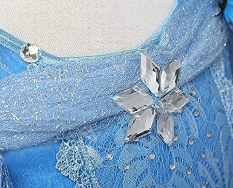 5-6 Anni NNDOLL Cenerentola Vestito Costumi Carnevale Bambina Bimba Principessa Azzurro Abito 870 130