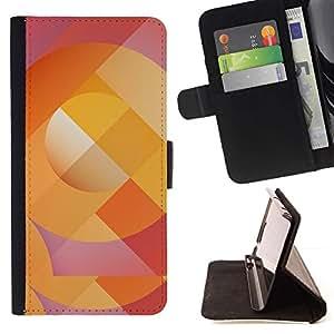 Momo Phone Case / Flip Funda de Cuero Case Cover - Patrón de líneas abstractas Naranja Púrpura - Motorola Moto E ( 1st Generation )