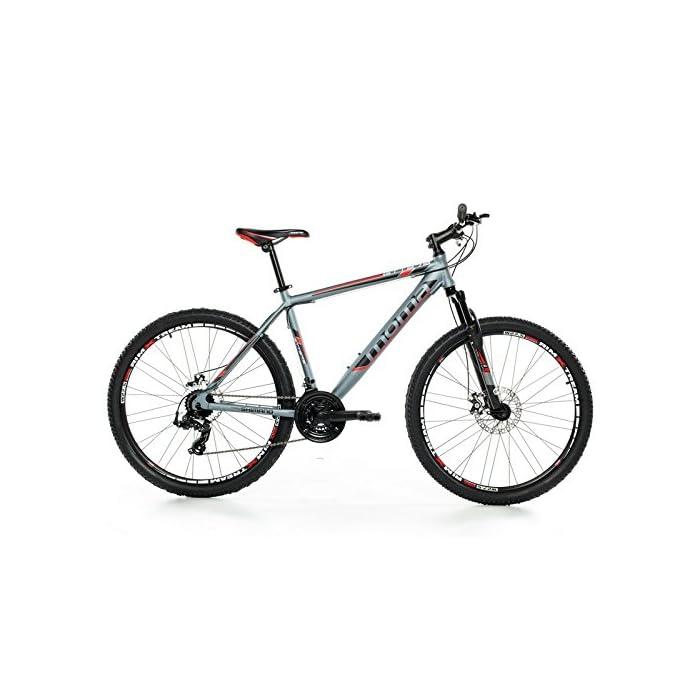 Moma Bikes Bicicleta Montaña GTT 27,5″Alu, SHIMANO 24V, Doble Freno Disco, Susp. Delant. (Varias Tallas)