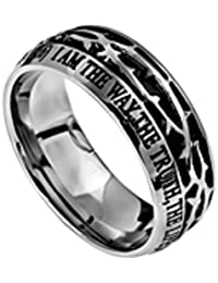 John 14:6 Crown of Thorns Ring, Stainless Steel, Christian Bible Verse