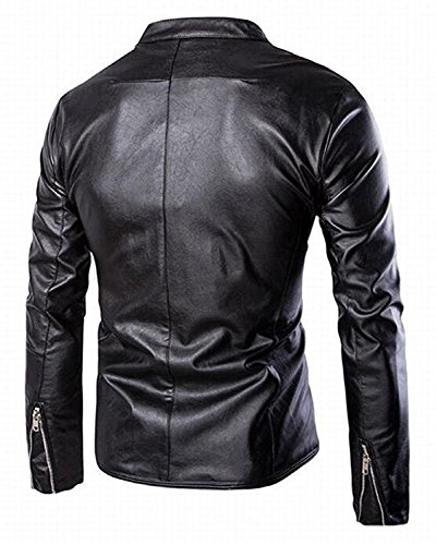 LeNG Men's Luxury Slim Fit Stand Up Collar Faux Leather Jacket BlackUS-XS