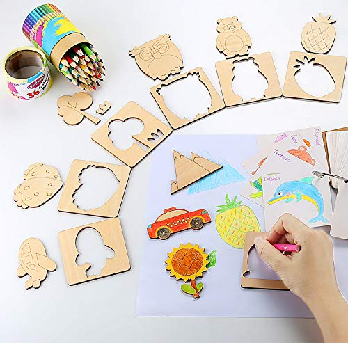 Upgraded Wooden Drawing Stencils Kit for Kids - 50Pcs Drawing Templates and Cutouts - DIY Arts and Crafts Set with Animals, Sports, Vehicles Themes for Coloring and Crafting - Preschool Toy - Funtopia]()