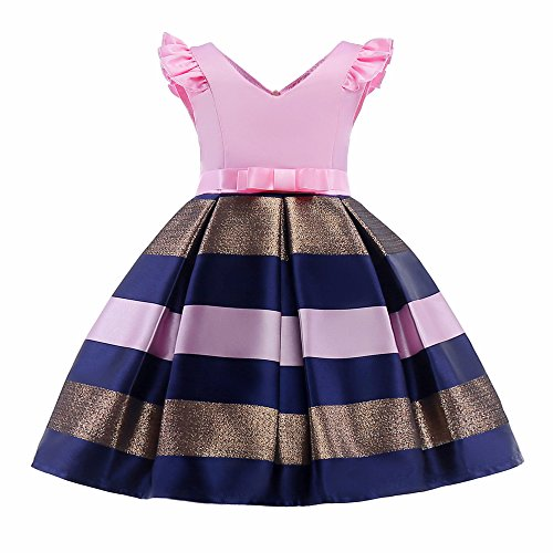 Petal Sleeve Dress (Bcaur Girls Short Petal Sleeve Princess Dress Party Formal Dress For Baby,Pink,2T)
