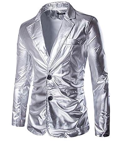 Mens Blazer Nightclub Styles Metallic Silver Jacket Slim Fit Two Button (Mens Metallic Silver Jacket)