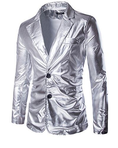 CIC Collection Men's Metallic Slim Fit Casual Two Button Blazer Jacket, Silver, US L / Tag XL