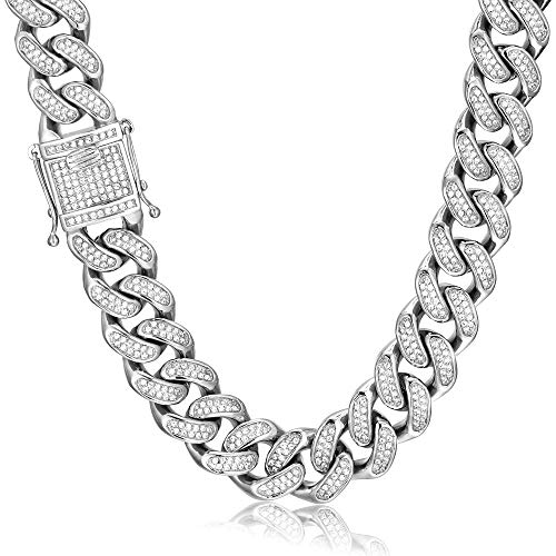 GOLD IDEA JEWELRY 20mm Hip Hop Stainless Steel VVS Lab Diamonds Iced Out Miami Cuban Link Chain (24)