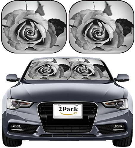 MSD Car Sun Shade Windshield Sunshade Universal Fit 2 Pack, Block Sun Glare, UV and Heat, Protect Car Interior, Image ID: 3841040 Beautiful and Romantic Pink Rose in Black and White