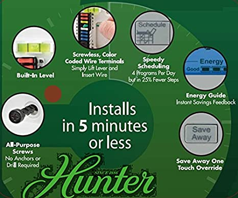 hunter 44377 - 7-day digital programmable thermostat (home thermostat, ac,  heat) - - amazon com