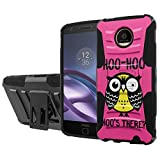 Moto Z [Force] Armor Case [SlickCandy] [Black/Black] Heavy Duty Defender [Holster] [Kick Stand] - [Hoo is There Owl] for Motorola Moto [Z Force] Droid