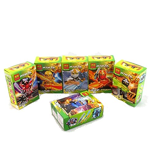 Wemi 6pcs High Quality God Beast Ninja ZANE KOZU KAI COLE DAY LLOYD with Weapons Fancy Assembling Toys for Kids