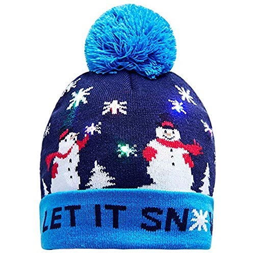 WUAI Christmas Hat for Adults, Novelties LED Light Up Hat Knitted Ugly Sweater Holiday Xmas Christmas Beanie (B,Free -