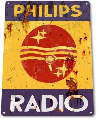 PHILIPS RADIO VINTAGE ADVERTISEMENT METAL TIN SIGN POSTER WALL PLAQUE