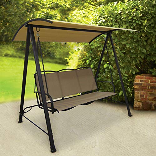Classic Patio / Porch Sling Swing with Shade Canopy - Tan Seats 3