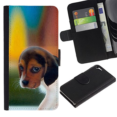 OMEGA Case / Apple Iphone 5 / 5S / pocket beagle puppy dog harrier / Cuir PU Portefeuille Coverture Shell Armure Coque Coq Cas Etui Housse Case Cover Wallet Credit Card