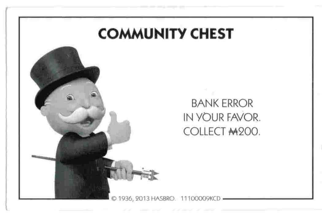 Amazon monopoly community chest card bank error toys games bookmarktalkfo Choice Image
