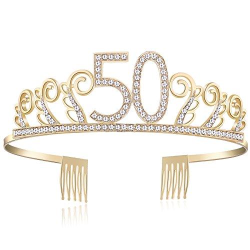 BABEYOND Crystal Birthday Tiara Rhinestone Princess Crown Happy Birthday Crowns Silver Diamante Happy 18/20/21/30/40/50/60/90th Birthday (Gold-50th) -