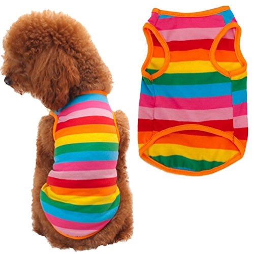 Puppy Clothes,Haoricu Rainbow Stripe Shirt Dog Cat Apparel Costume Summer (XL)
