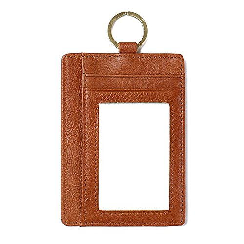 Price comparison product image VRLEGEND Card Case Holder Front Pockets Wallet RFID Blocking with Keyring (Brown)
