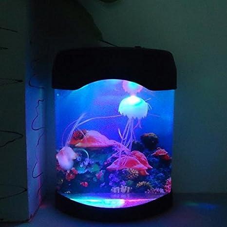 Bluelover Acuario Medusa De Simulación Fondo Lámpara De Noche: Amazon.es: Hogar