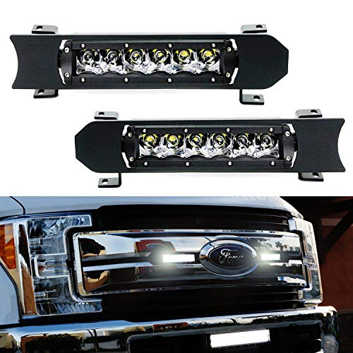 - iJDMTOY Front Grille LED Light Bar Kit For 2017-up Ford F250 F350 Lariat King Ranch, Includes (2) 30W CREE LED Lightbars, Grill Panel Mounting Bezels/Brackets & On/Off Switch Relay Wirings