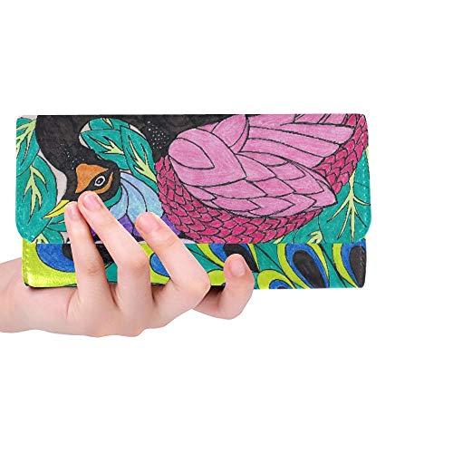 Unique Custom Peacock Art Nouveau By Sonjal On Clipart Library Women Trifold Wallet Long Purse Credit Card Holder Case Handbag