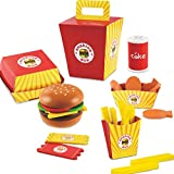 D.O.T Wooden Fast Food Burger Fries Deluxe Dinner Set - 26 PCS