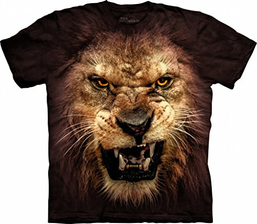 Face Lion Tee - The Mountain Big Face Roaring Lion T-Shirt (L)