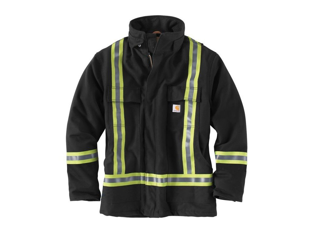 Carhartt Men's High Visibility Striped Duck Traditional Coat, Black, X-Large