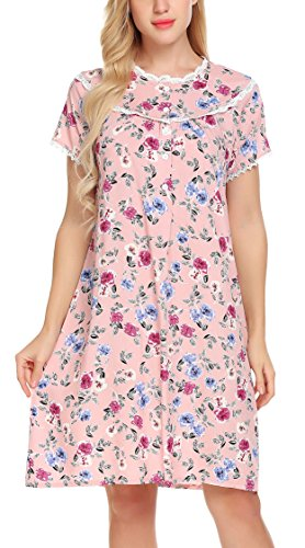 Ekouaer Womens Short Sleeve Long Nightgown Floral Print Lace-Trimmed House - Floral Nightgown Lace