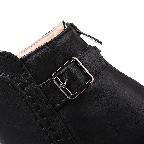 Closed Boots Material Kitten Solid Heels Soft Toe AmoonyFashion Women's Black Round Zipper Fv4wwIq