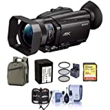 Sony FDR-AX700 4K Handycam Camcorder 1 Sensor - Bundle 32GB SDHC U3 Card, Back Pack, Spare Battery, 62mm Filter Kit, Cleaning Kit, Memory Wallet