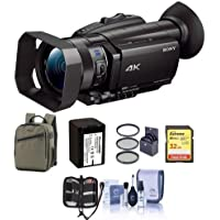 Sony FDR-AX700 4K Handycam Camcorder with 1 Sensor - Bundle With 32GB SDHC U3 Card, Back Pack, Spare Battery, 62mm Filter Kit, Cleaning Kit, Memory Wallet