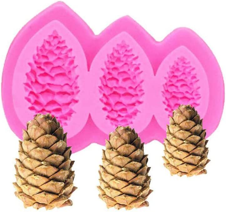 Ialwiyo Silicone 3D Pinecones Shaped Cake Molds, Adorable Creative 3 Cavities Kitchen Gadget DIY Mold For Chocolate Cooking Utensils Bakeware Tools