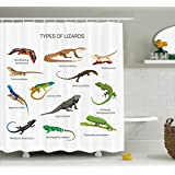 Reptile Decor Shower Curtain Set By Ambesonne, Lizard Family Design On Plain Background Primitive Reptiles Camouflage Exotic Creatures Home, Bathroom Accessories, 69W X 70L Inches, Multi
