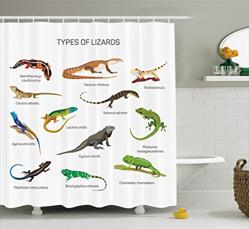 Reptile Decor Shower Curtain Set by Ambesonne, Lizard Family Design on Plain Background Primitive Reptiles Camouflage Exotic Creatures Home, Bathroom Accessories, 84 Inches Extralong, (Exotic Vinyl)