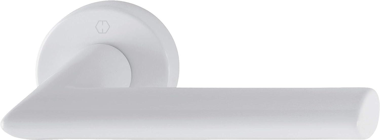 Hoppe Juego manillas Stockholm aluminio blanco mate
