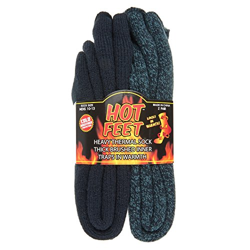 (Hot Feet Cozy, Heated Thermal Socks for Men, Warm, Patterned Crew Socks, USA Men's Sock Sizes 6 - 12.5 - Hot Feet (Denim Heather/Dark Navy) (2 - Pack) )