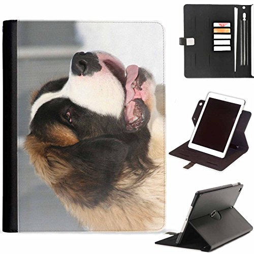 (Hairyworm - Close-up of Saint bernard Apple iPad Mini 4 leather side flip wallet 360 swivel case, folio cover with Apple pencil / pen holder, card slots, paper slot, metal buckle, stand points)