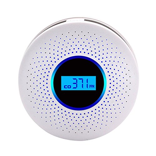MIXSlight Smoke and Carbon Monoxide Detector Alarm?Battery Operated Carbon Monoxide CO Detector with Sound Warning and Digital Display?White